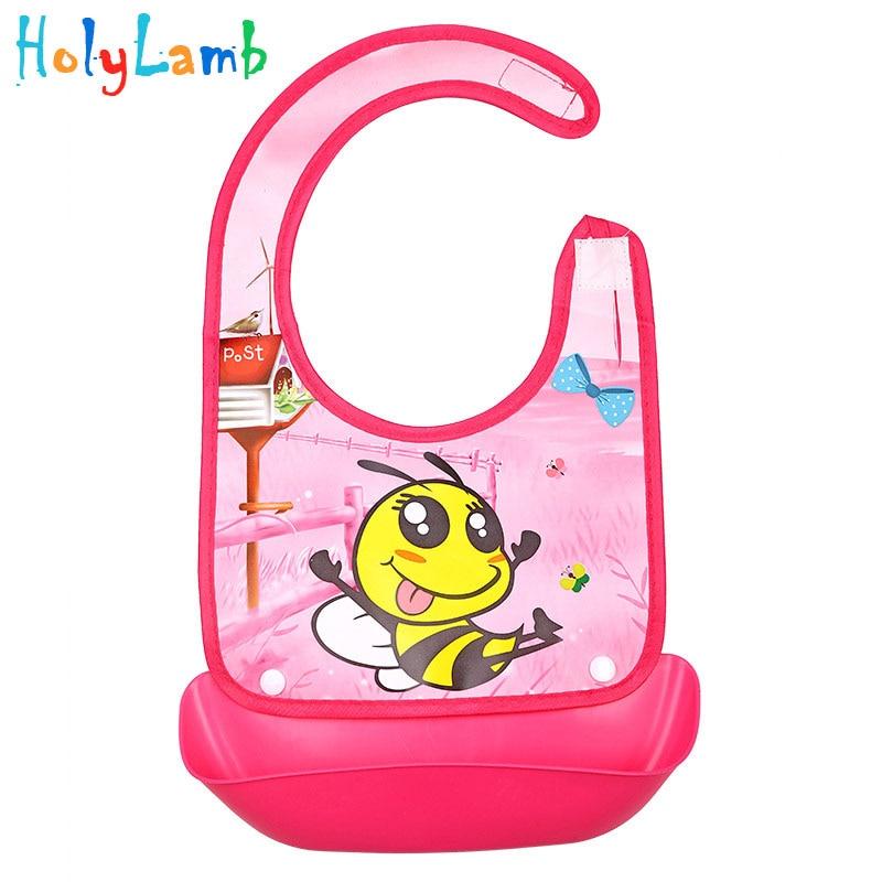 Plus Size Children Bib Burp Cute Cartoon Animal Colorful Baby Bibs Long Sleeve Clothes PVC Feeding Eat Toddle Waterproof
