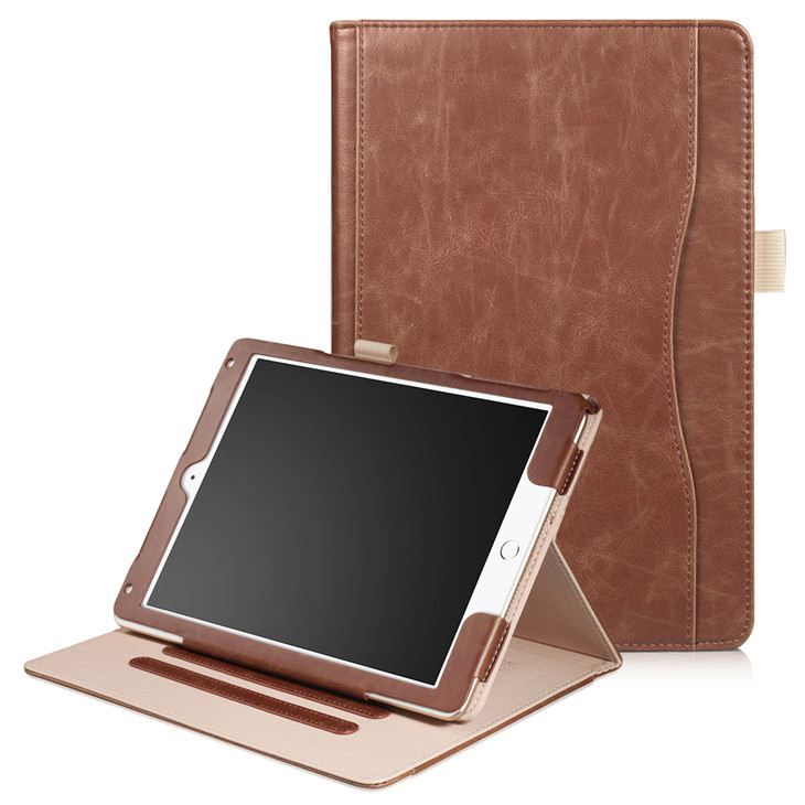 Brown Wallet case with hand loop, stand and leather style for iPad 9.7 (2017, 2018, A1893), Air 1,2