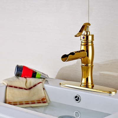 Newly Style Vanity Golden Bathroom Sink Basin Faucet Mixer Tap Single Handle Hole W/ Plate Faucet single handle golden swan faucet bathroom basin faucet vanity sink mixer tap