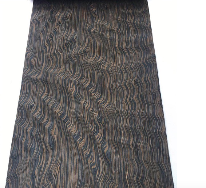 L:2.5Meters/pcs    Wide:60cm Thickness:0.2mm  Technology Ebony Root Bark  Wood Veneer (back Side Withnonwoven Fabric)