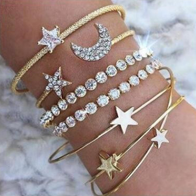 Kittenup New Trendy Gold Silver Color Romantic Star Moon Charm Bangles Jewelry Gifts For Girl Women