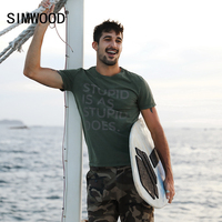 SIMWOOD 2017 Summer New T Shirts Men 100 Pure Cotton O Neck Letter Fashion Tops Brand