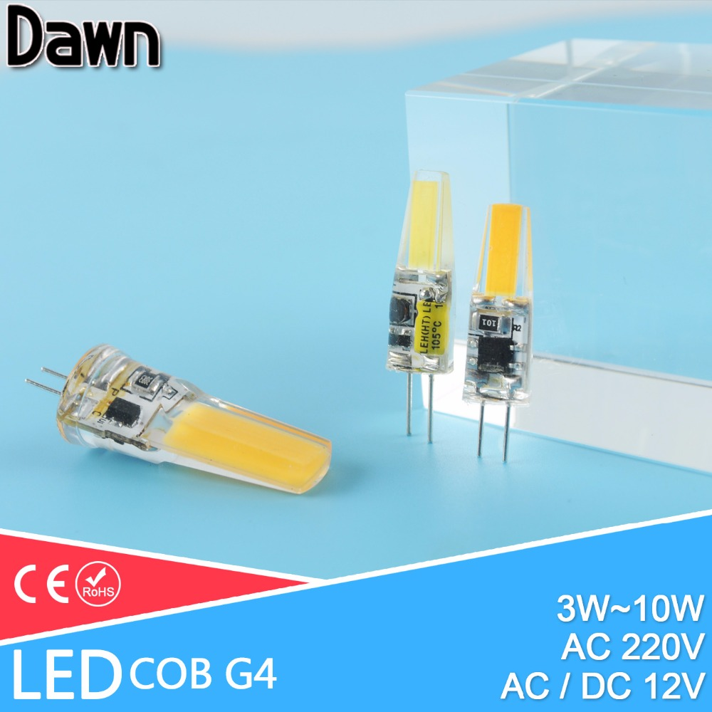 LED G4 Lamp Bulb AC DC Dimmable 12V 220V 3W 6W 10W COB SMD LED Lighting Lights replace Halogen Spotlight Chandelier
