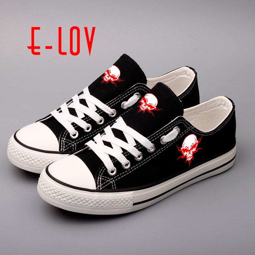 E-LOV Halloween Skull Shoes For Women Party Horror Punk Flat Canvas Shoes Skull Casual Lace-Up Platform Printed Skeleton Shoes e lov women casual walking shoes graffiti aries horoscope canvas shoe low top flat oxford shoes for couples lovers