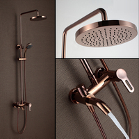 Luxury Gold And Rose Gold Brass Rain Shower Faucet Set Single Ceramic Handles Tub Mixer Hand
