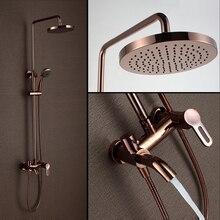 Классический Люкс PVD розовое золото плиты набор для душа под старину подъемные Настенный 8 «Осадки смеситель для душа кран 3-смеситель функций
