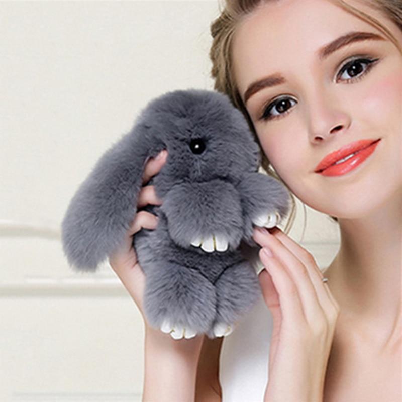 13cm Cute Plush Bunny Keychain Women Fur Pom Pom Angel Rabbit Key Ring Hare Pompom Plush Dolls Toy Girls Bag Car Key Pendant все цены