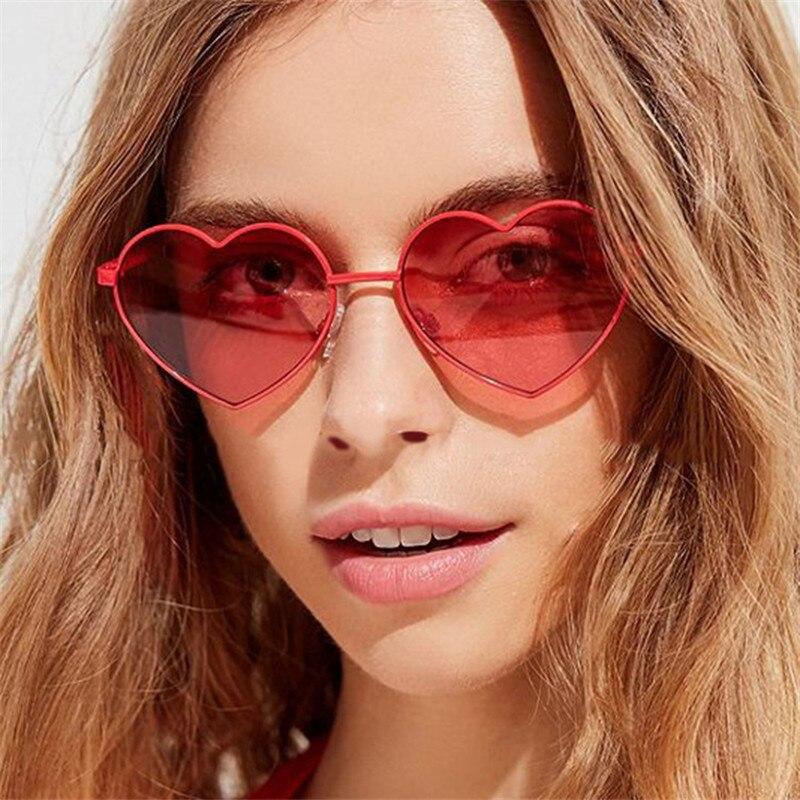 Heart Shaped Sunglasses Metal Women Brand Designer Fashion  LOVE Clear Ocean Lenses Sun Glasses Oculos UV400