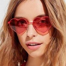 Heart-Shaped Sunglasses Ocean-Lenses Designer Fashion Women Brand UV400 Oculos Clear