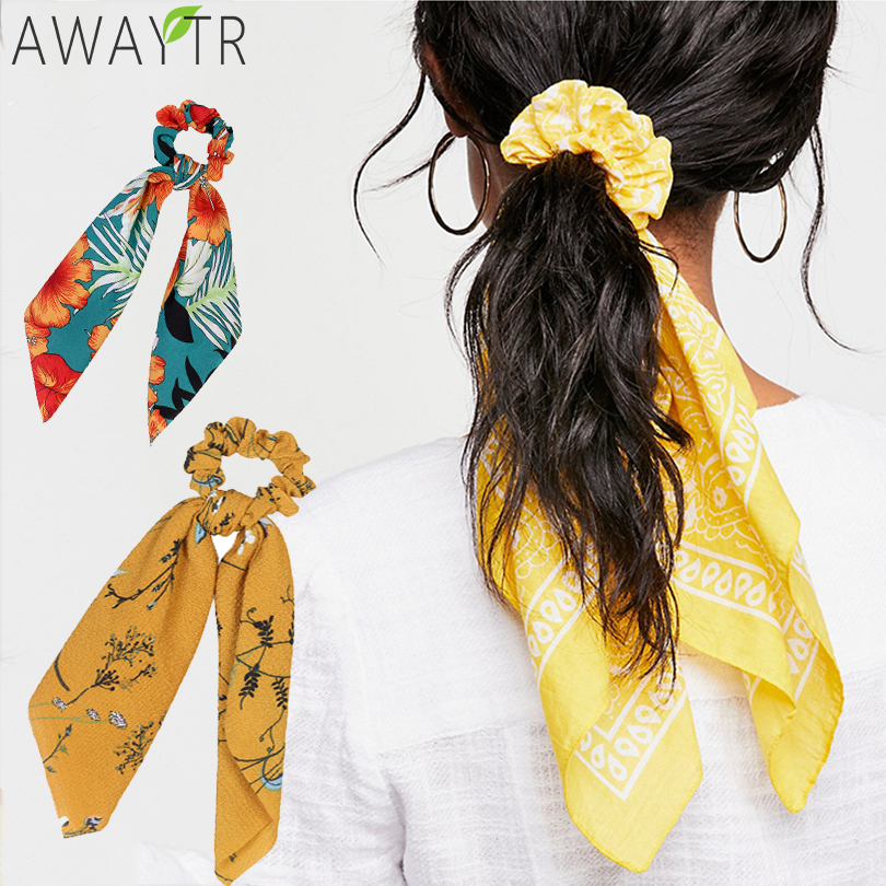 Women Vintage Big Bowknot Ribbon Hair Scrunchies Elastic Print Fabric Satin Hair Ties Holder Hairbands Girls Hair Accessories
