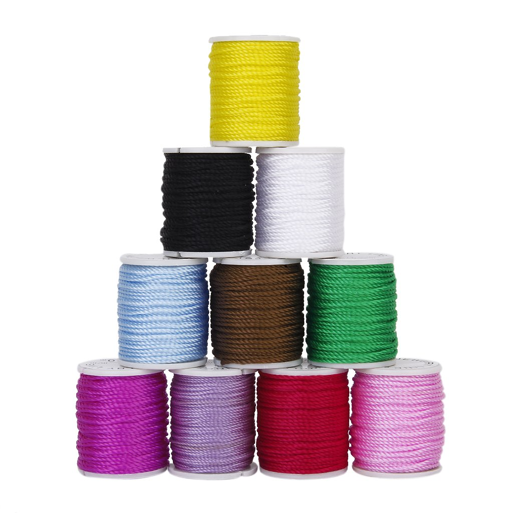 10 Rolls of Nylon Beading Thread Cord for DIY Jewellery Making Mixed Colors---1mm