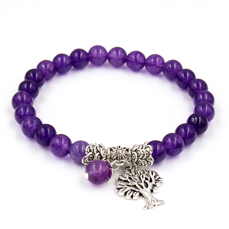 Image 2 - Women Mens Purple Stone Beaded Bracelets Mala Prayer Yoga Beads  Reiki Healing Meditation Tree of Life Pendant Energy BangleCharm  Bracelets