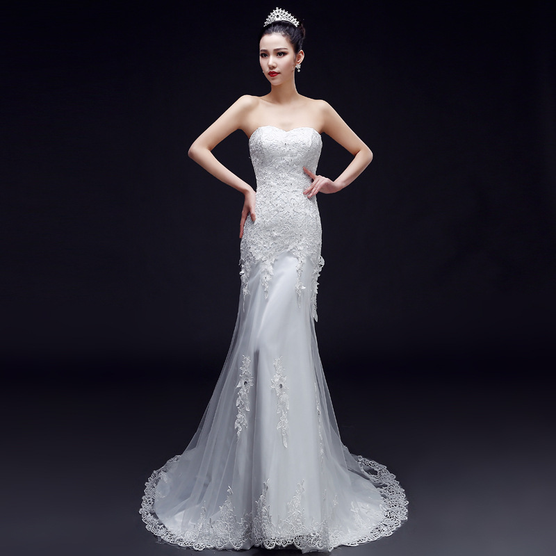 6 16 New Best Selling Ivory White Lace Mermaid Bridal Gown