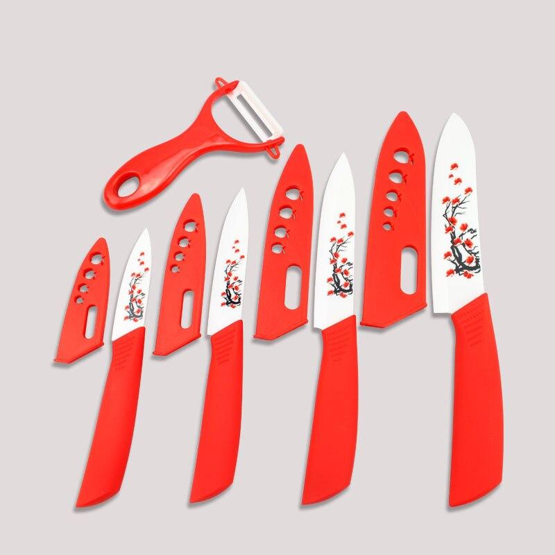 Couteaux de cuisine imprimés fleur Findking couteaux en céramique de qualité supérieure 3''4''5''6 pouces + éplucheur + couvercle ensemble de couteaux de cuisine en céramique
