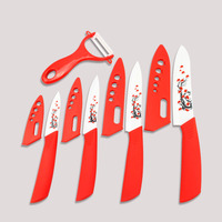 Findking Flower Printed Kitchen Knives Top Quality Ceramic Knives 3''4''5''6 inch +Peeler+Cover Fruit Ceramic Paring Knife Set