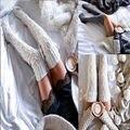 Женщины Кабель Вязать Чулок Женская одежда Зима Чулок Удлиненные Загрузки Чулок Над Коленом Бедра