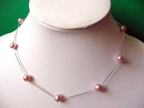 Bijoux en perles véritables élégantes, magnifique collier de perles d'eau douce rose Mauve avec chaîne en argent Sterling 925.