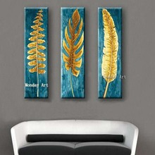 3 Panel handmade Beautiful Knife Gold Leafs Canvas Painting Pictures Hand Painted Abstract gold Oil Paintings Modern painting
