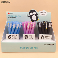48Pcs/lot Kawaii Penguin Silicone Gel Pen 0.5mm Black Rollerball Pen Writing Pen Student Stationery School Office Supply