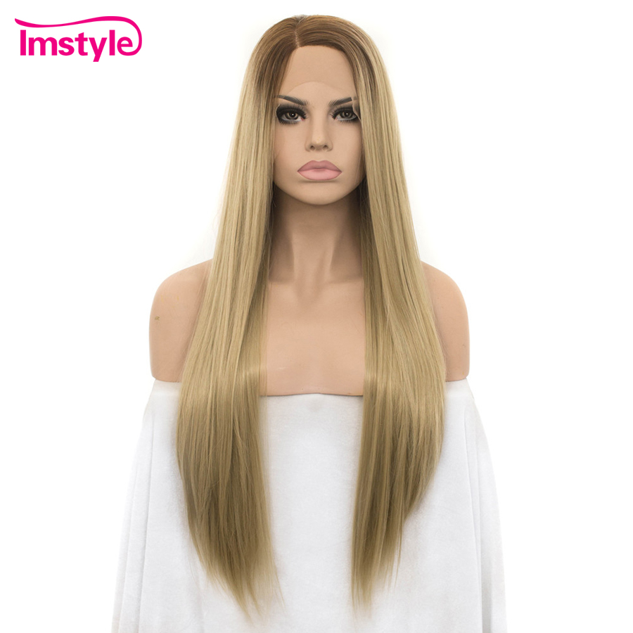 Imstyle Straight Long Ombre Blonde Wigs For Women Lace Front Wigs Dark Root Heat Resistant Fiber