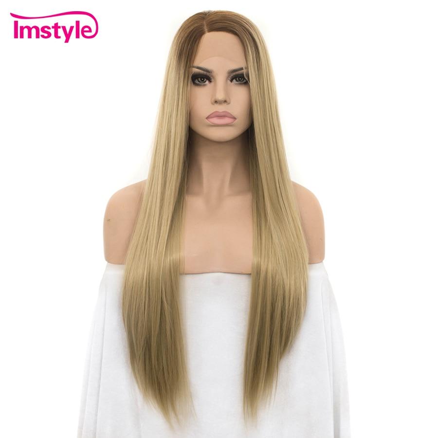 Imstyle Reta Longa Raiz Escura Ombre Perucas Loiras Para As Mulheres Lace Front Perucas de Fibra Resistente Ao Calor Peruca Sintética Do Laço Natural cabelo