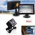 """5 """"Colorido TFT LCD 16:9 Monitor de Estacionamento com câmera CCD Luzes LED de visão Traseira Do Carro Auto Estacionamento Invertendo Cam orientação Ajuda"""