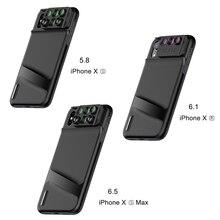 Objetivo de teléfono 6 en 1 con funda para iPhone Xs Max XR gran angular Macro lentes ojo de pez Zoom cámara HD lente para iPhone