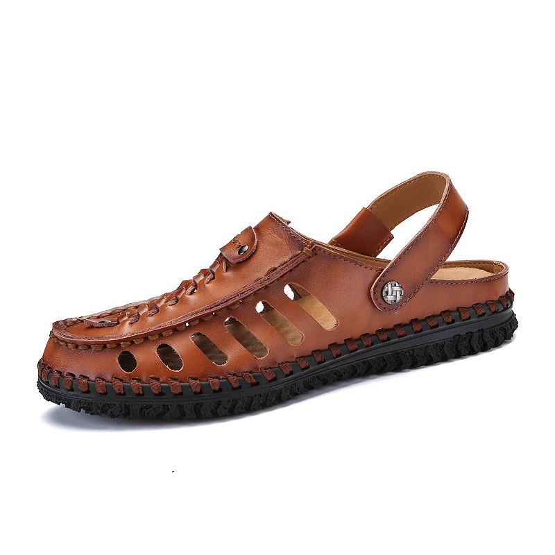 Mens Business Sandals Soft Classical Genuine Leather Slippers Durable Summer Shoes Breathable Footwear For Men Casual Shoes New