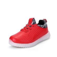 Novo LED Sapatos USB Carregamento Colorido Meninos e Meninas Crianças Sapatos Casuais