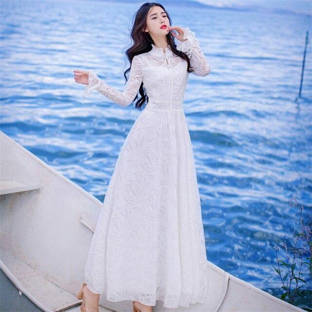 2019 alta calidad explosiones ocio Vintage vestidos elegantes mujeres bordado encaje grace manga completa Primavera Verano vestido de fiesta