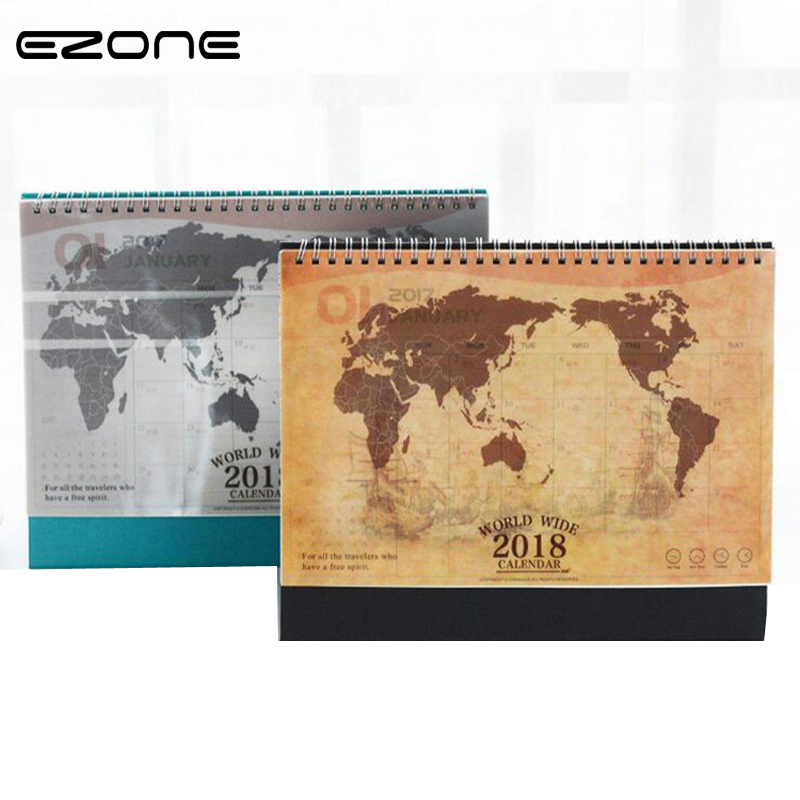 EZONE 1PC Korea Calendar Map Travel Footprint Office Planner Desk Table Calendar For 2018 Agenda Plan Chronicle Desk Calendar 1pc 32cm world globe map ornaments with swivel stand home office office shop desk decor world map geography educational tool