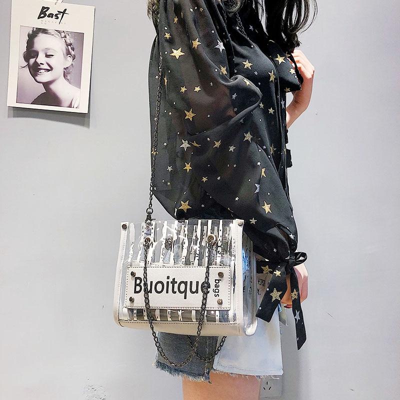 HEBA Hot Sale Fashion Stripes Plastic Transparent Handbag Chain Shoulder Bag Woman Large Capacity Bag Composite Bag Womens Ba