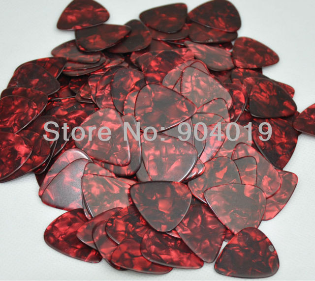 Lots of 50 pcs new heavy 0.96mm blank guitar picks celluloid pearl red