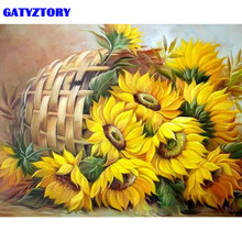 GATYZTORY Frame Sunflower DIY Painting By Numbers Acrylic Paint By Numbers Modern Wall Art Picutre Handpainted Oil Painting Arts(China)