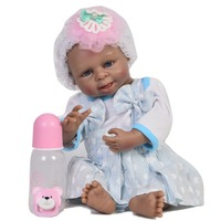 5bec07676 45cm Full Silicone Lifelike Toddler Reborn Babies Real Looking Dolls Black  Skin Learning Adorable Toys Baby