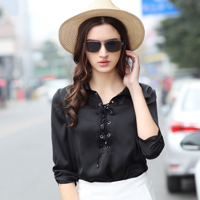 9a68473aca9 1pcs Ladies plus size blouses tops 2018 Summer Hot Fashion Pure silk  lace-up Black Primer shirt Women Casual blouses tops girls