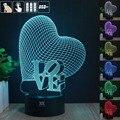 H Y Presentes Criativos Amor a Luz Da Noite 3D RGB Mutável Mood Lamp levou luz dc 5 v usb candeeiro de mesa decorativo obter um free remoto cont