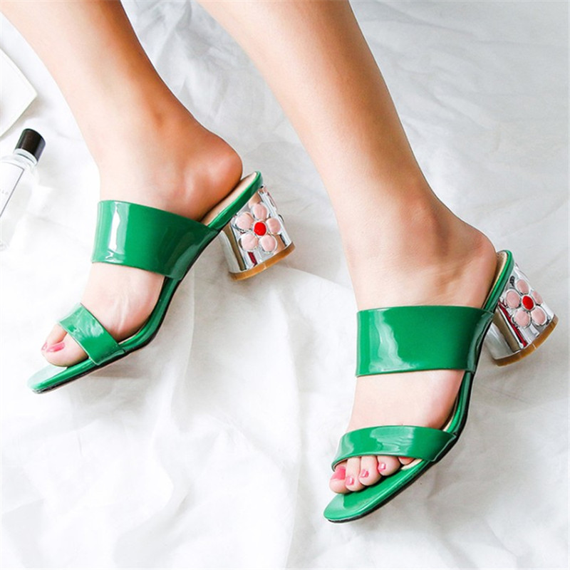 Plus Size 34-43 Hot sale Summer woman sandals genuine leather slippers good quality Woman Flowe Square high heeled female shoes цены онлайн