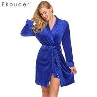 Ekouaer Women Robe Wrap Split Front Stitch Long Sleeve Patchwork Velvet Bath Robe With Belt Female Warm Sleepwear Dressing Gown