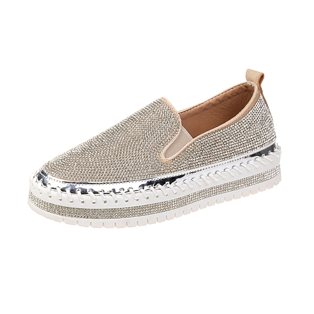 2019 spring new one pedal lazy thick bottom casual rhinestone  Korean version of the wild light Lok Fu women shoes 2224010