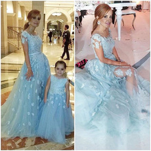 New elegant Sky blue long evening dresses 2016 appliques lace tulle mother daughter gowns two piece gown for formal party
