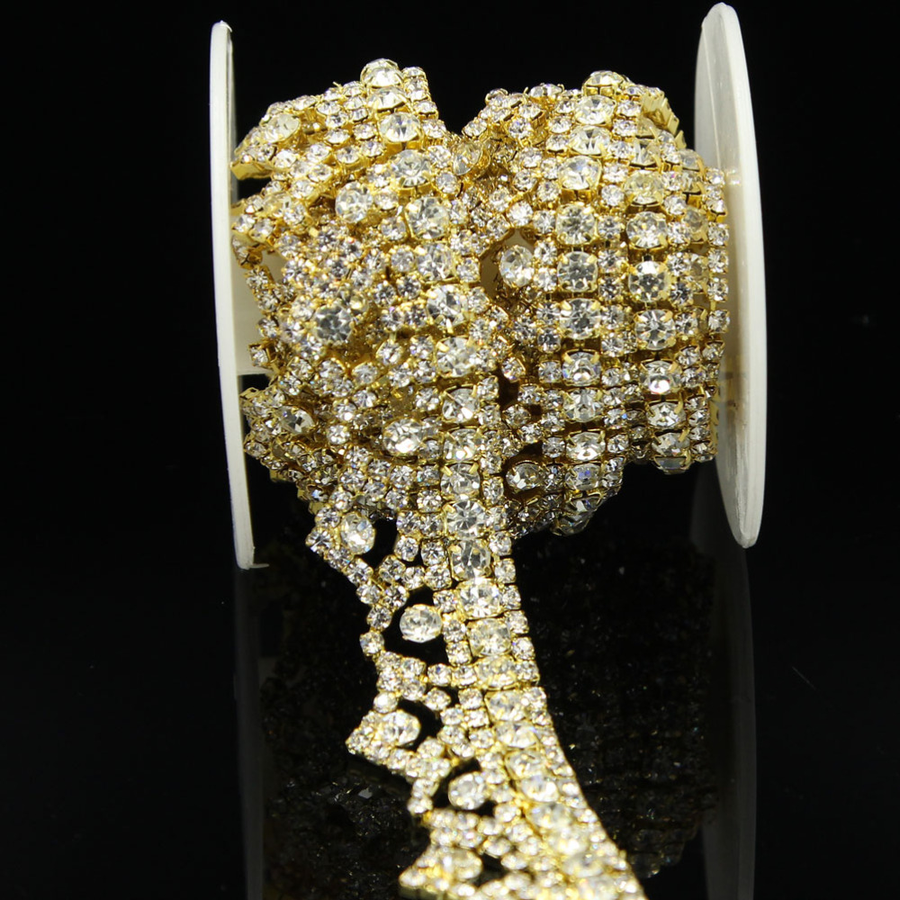 10Yards Luxulry Rhinestone Applique Rhinestones Crystal Lace Trim Bridal Accessories