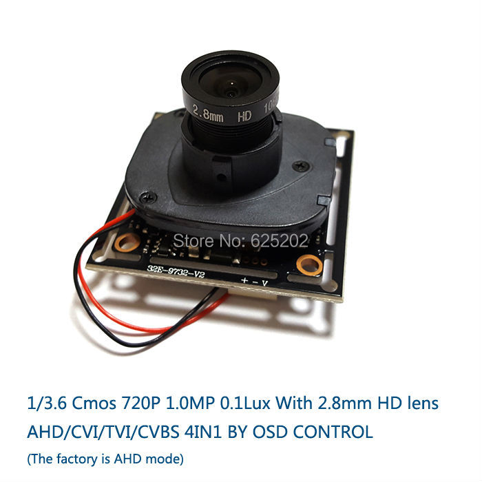 V20E+OV9732 DWDR AHD/CVI/TVI/CVBS 4 in 1 1/3.6  Cmos Module  720P 1.0MP  With 2.8mm HD Lens 4 in 1 ir high speed dome camera ahd tvi cvi cvbs 1080p output ir night vision 150m ptz dome camera with wiper