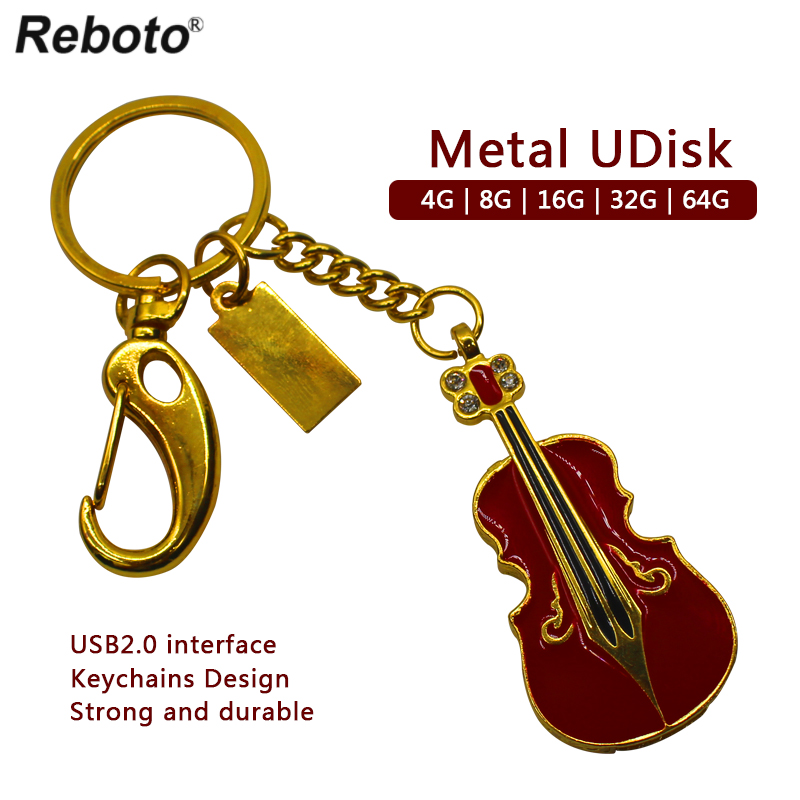 Metal Violin Style USB Flash Drive 4GB 8GB 16GB 32GB Waterproof Pen Metal Drive 64GB High Speed Memory Disk Pendrive