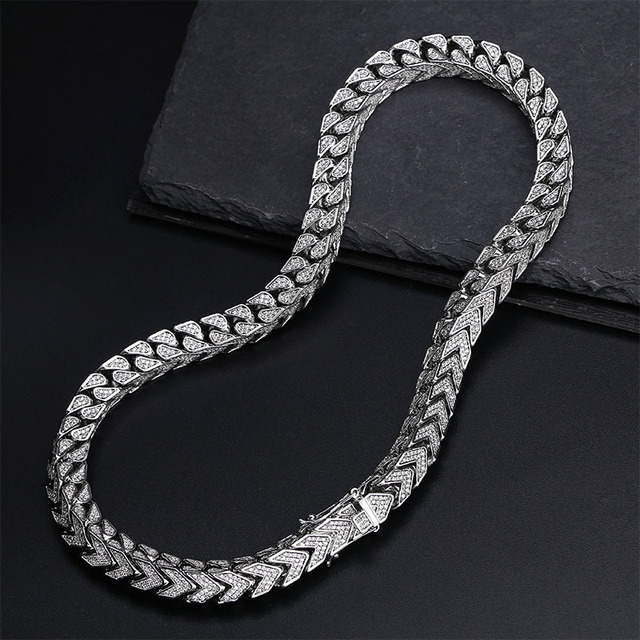 Hip Hop Full Micro CZ Cubic zirconia Bling Iced Out Arrow Pattern Square Link Chain Necklace for Men Rapper Jewelry Gold Silver