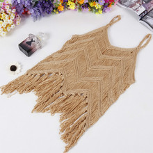 Tops Direct Selling Cotton Camis Bustier Crop Top Top Crop 2017 Spring Summer New Sexy Ladies Blouse Shirt Tassels Pierced Vest