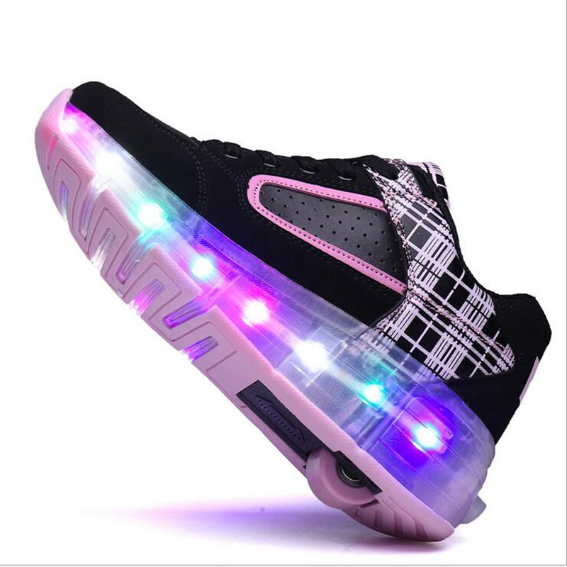 Children LED Sneakers Double Wheels Flame Buty Led Luminous Boys Girls Toddler Roller Sneakers Glowing Sneakers2017