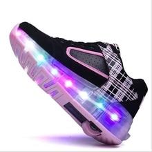 Enfants LED Sneakers Double Roues Flamme Buty Led Lumineux Garçons Filles En Bas Âge Rouleau Sneakers Rougeoyant Sneakers2017 K01