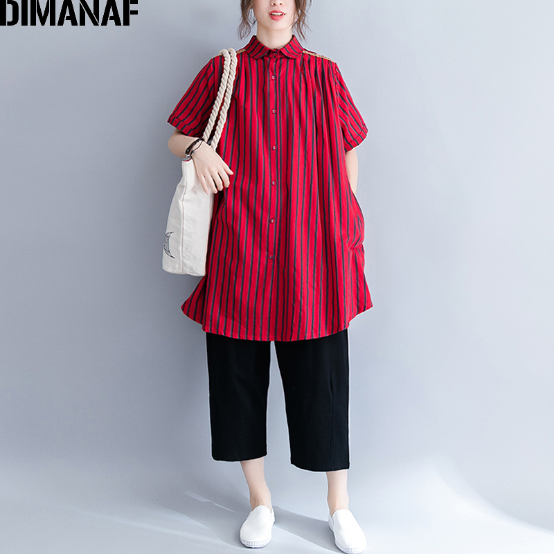 DIMANAF Women   Blouse     Shirts   Summer Cotton Plus Size Print Striped Red Femme Office Lady Large Clothing Loose Tops Cardigan 2018