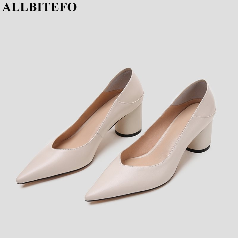 ALLBITEFO genuine leather women heels high heels shoes fashion spring autumn shoes office career comfortable wedding